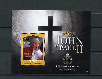 Bequia Grenadines St Vincent 2015 MNH Pope John Paul II 10th Memorial Ann 1v S/S
