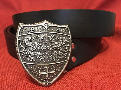 Large Metal Heraldic Lion Shield Buckle &/or Belt - Custom Made in the U.S.A.
