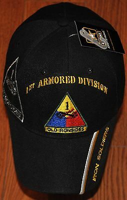 4497b31bf Black 1st First Armored Division Army Hat Ball Cap Old Ironsides Iron  Soldiers