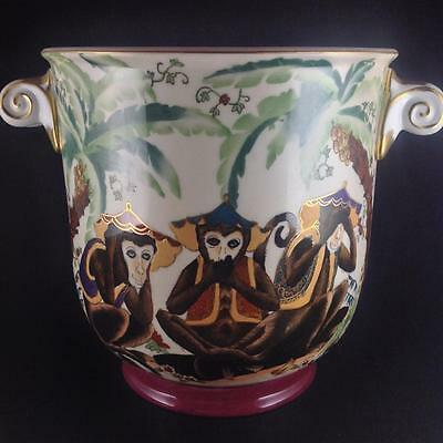 Asian Satsuma Style 3 Wise Monkeys Hand Painted with Gold Trim Large Planter