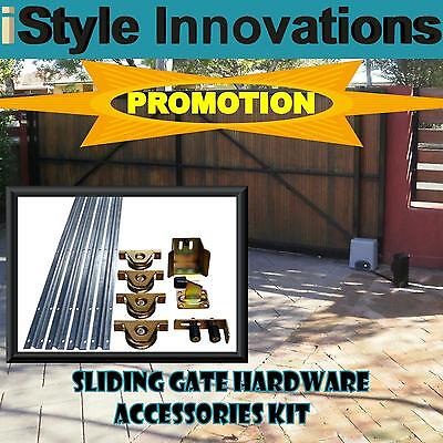 SLIDING GATE HARDWARE ACCESSORIES KIT - Track, Wheels, Stopper, Roller Guide