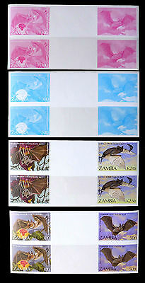 ZAMBIA 1989 Bats Imperf Progressives with Finished Designs (10) SEE BELOW FP2881