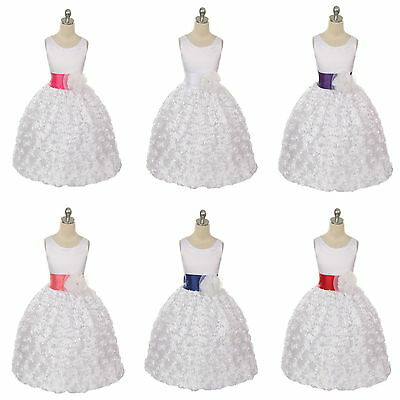 New Lovely Style White Flower Girl Dress Communion Confirmation Girls Dress