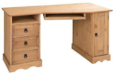 Corona Corner Computer Desk Office Table Mexican Solid Pine by Mercers Furniture