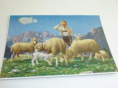"""vintage blank  greeting cards  ARS SACRA  """"the young shepherd """"4984"""