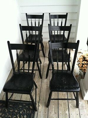 Windsor chairs, black painted, set of 6, made in PA in mid 1800's