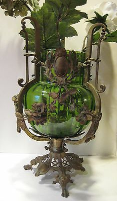 Antique Figural Neo Classical French Glass Vase W Bronze Ormolu Floral Swags