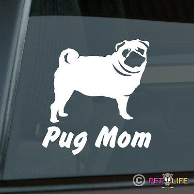 Pug Mom Die Cut Vinyl Sticker - Momma Chinese Dutch