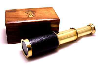 Telescope Handheld Brass New 6 Inch with Wooden Box Pirate Navigation FREE SHIP