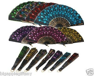 3 PCS LOT Foldable Peacock Shining Sequins Hand Fan Bead Black Fabric Decor