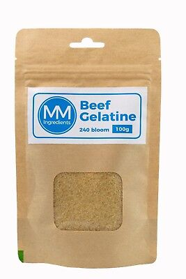 BEEF Gelatine Powder 100G. 240 Bloom. Unflavoured powdered gelatine or gelatin