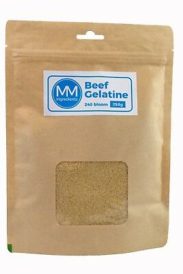 Beef Gelatine Powder 250G. 240 Bloom.Unflavoured powdered gelatine or gelatin