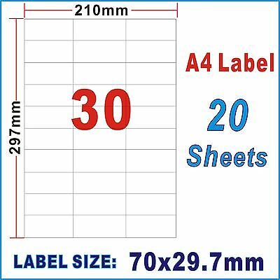20 Sheets 70x29.7mm 30 Labels Per Page A4 Office Mailing Address Label Inkjet