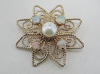 Vintage 14K Yellow Gold White Pearl and Opal Pin / Pendant