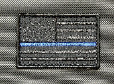 Blackout Thin Blue Line United States Flag Patch Police SWAT Gang Hook Backing