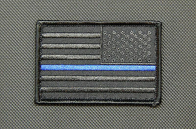 Blackout Thin Blue Line Reverse United States Flag Patch Police SWAT Gang Hook