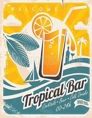 Tropical Bar  Large Metal Tin Sign Poster Vintage Style Plaque `
