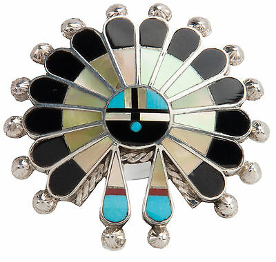 Zuni Native American Turquoise and Shell Sunface Pin and Pendant SKU#228450