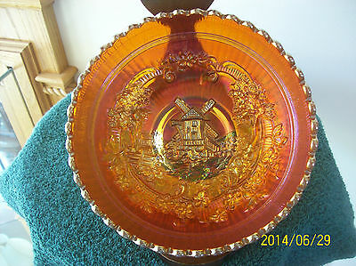 """Imperial Marigold Windmill Carnival Glass Bowl 7"""" Vintage beautiful Pre-logo"""