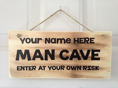 Personalised Wooden Man Cave Sign Plaque, Perfect Gift, Resin Coated.
