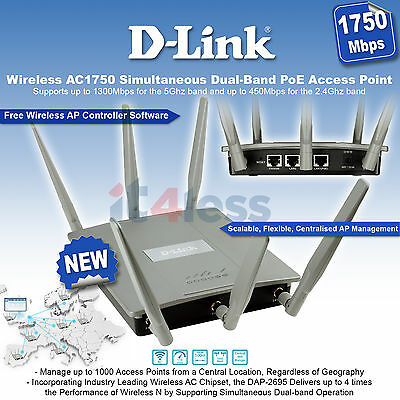 D-Link Wireless AC1750 Simultaneous Dual-Band PoE Access Point DAP-2695 NEW