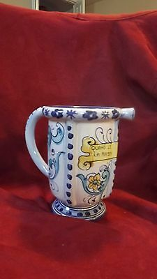 """VINTAGE TUSCAN ITALIAN ART POTTERY, PITCHER """"VERY LOVELY"""" Signed & numbered"""