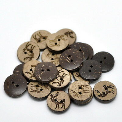 50PCs Brown Coconut Shell Buttons 2 Holes Sewing Scrapbooking Elk Deer