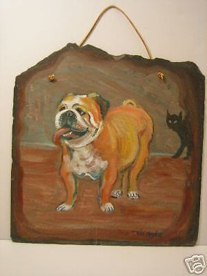 Hand Painted Bulldog On Old SLATE With Leather Hanger