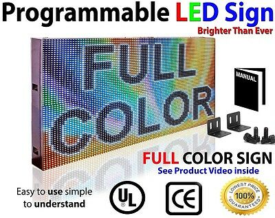"""Full Color Led Sign 25""""x12"""" Video Inage Logo Open Sign Scrolling Message Display"""