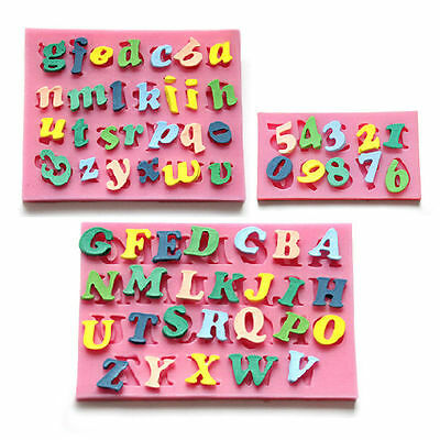 Letters Number Silicone mold for fimo resin polymer clay fondant cake decorating