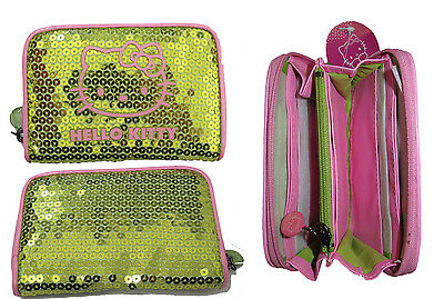 Hello Kitty Purse Purple With Gold Sequin Credit Card Holder Coin Zipped New