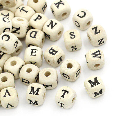 200PCs Natural Mixed A-Z Alphabet/ Letter Cube Wooden Beads