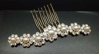 Flower Pearl Crystal Large Hair Comb Clip 9cm Long Gold Wedding Bridal Formal