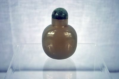 Antique Chinese Agate Snuff Bottle with Green/White Stone Lid