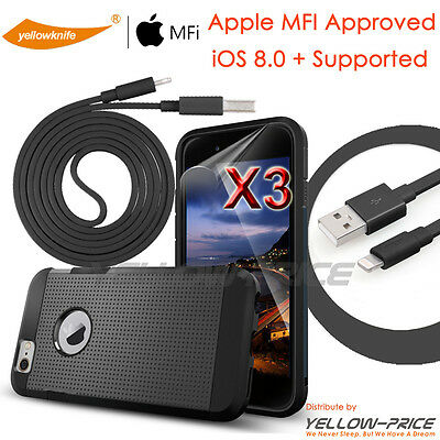 3 in 1 iPhone 6 Case [Clear Films] [Apple MFI Certified] Lightning to USB Cable