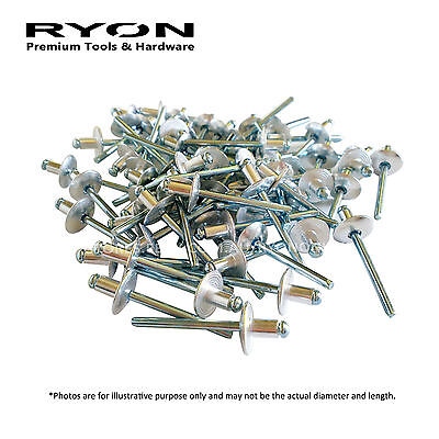 250PCS 4.8mm x 7.5mm Large Flange Aluminium Blind Rivets