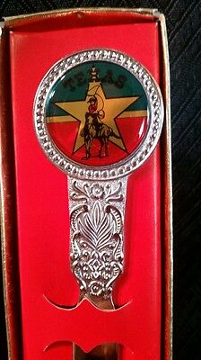 """New Vintage State of Texas Cowboy Rodeo Flag Metal Letter Opener Very 8"""" Rare"""