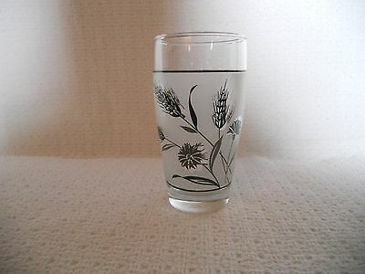 Libbey  Frosted Silver Wheat & cornflower 12 oz Tumbler/Glass