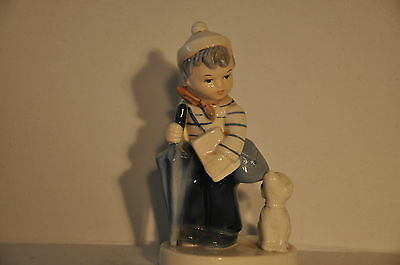 VINTAGE NAPCO BOY with DOG BACK TO SCHOOL NAPCOWARE CERAMIC FIGURINE AH1K