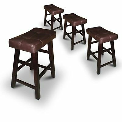 "4 Bar Stools 24"" or 29"" High Dark Espresso Wood with Bonded Faux Leather Seat"