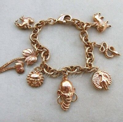 R bracciale charms placc oro ispirato all'Africa. African theme charm bracelet