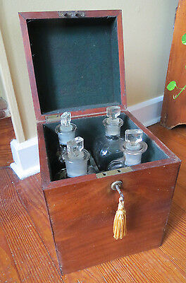 ANTIQUE BOXED SET of 4 X. BAZIN DECANTERS PHILADELPHIA