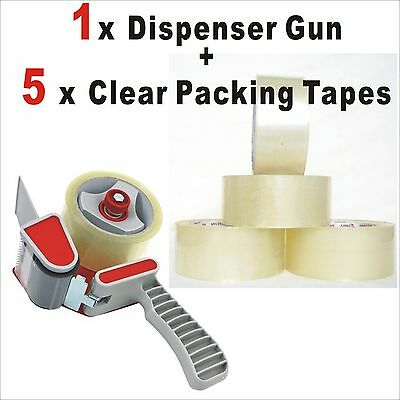 1x Packaging Sticky Tape Dispenser Gun + 5x Rolls 75Mx48MM Clear Packing Tapes