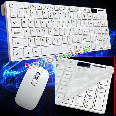 Slim 2.4GHz Wireless Keyboard and Optical Cordless Mouse White Combo Bundle Set