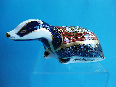 Royal Crown Derby Paperweight  Moonlight Badger Gold Stopper As New In Box