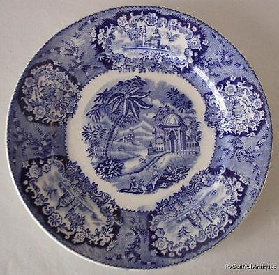 6 -19th C FLOW BLUE Plate MALTA Franz Mehlem BONN Germany