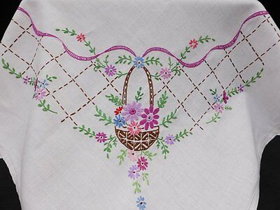 Vintage Linen Tablecloth-Pretty Hand Embroidered Flower Baskets & Ribbons