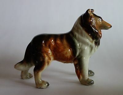 VINTAGE COLLIE LASSIE DOG FIGURINE JAPAN PORCELAIN CERAMIC
