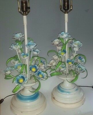 Pair of Vintage Metal Tole Table Lamps, Leaves, Flowers, Italy Shabby Cottage