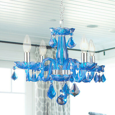 "USA BRAND $99 SALE ! Clarion 4 Light Sapphire Blue Crystal Chandelier 16"" Small"